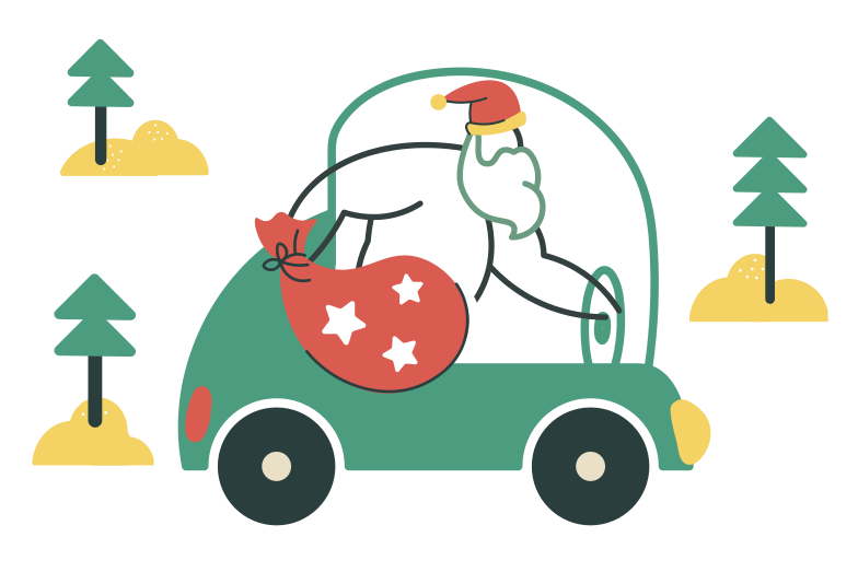 Santa in a car Clipart illustration in PNG, SVG