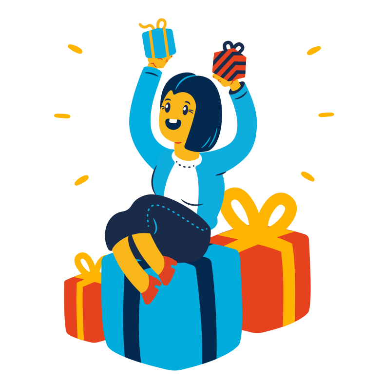 Woman received a lot of gifts Clipart illustration in PNG, SVG