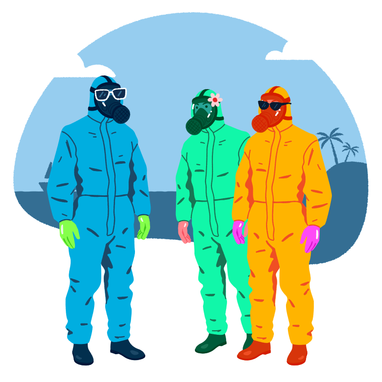 Vacation during covid pandemic.  Clipart illustration in PNG, SVG