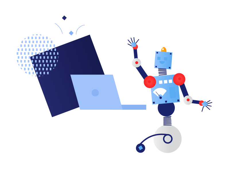 Computer technology and robot Clipart illustration in PNG, SVG