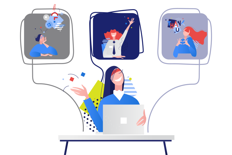 Remote Work Meeting Clipart illustration in PNG, SVG