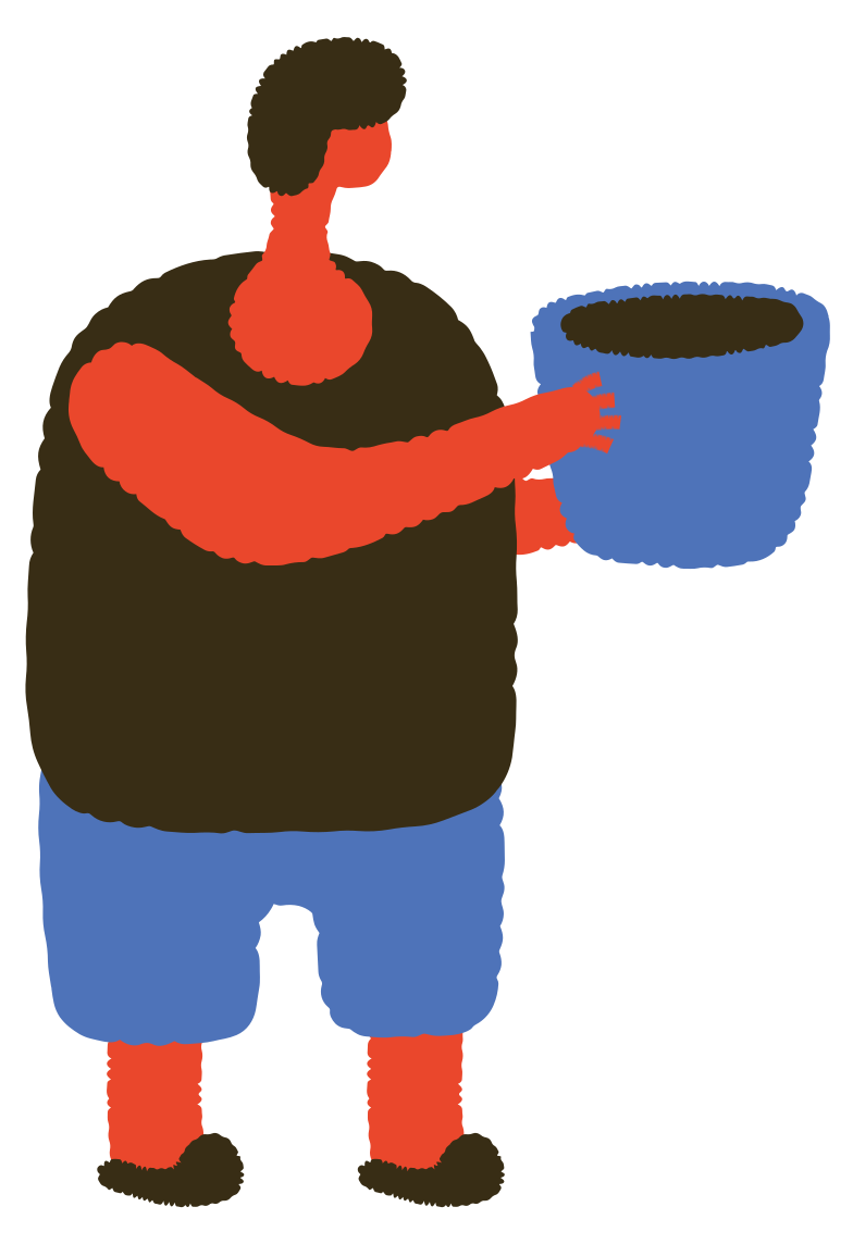 man with bucket Clipart illustration in PNG, SVG