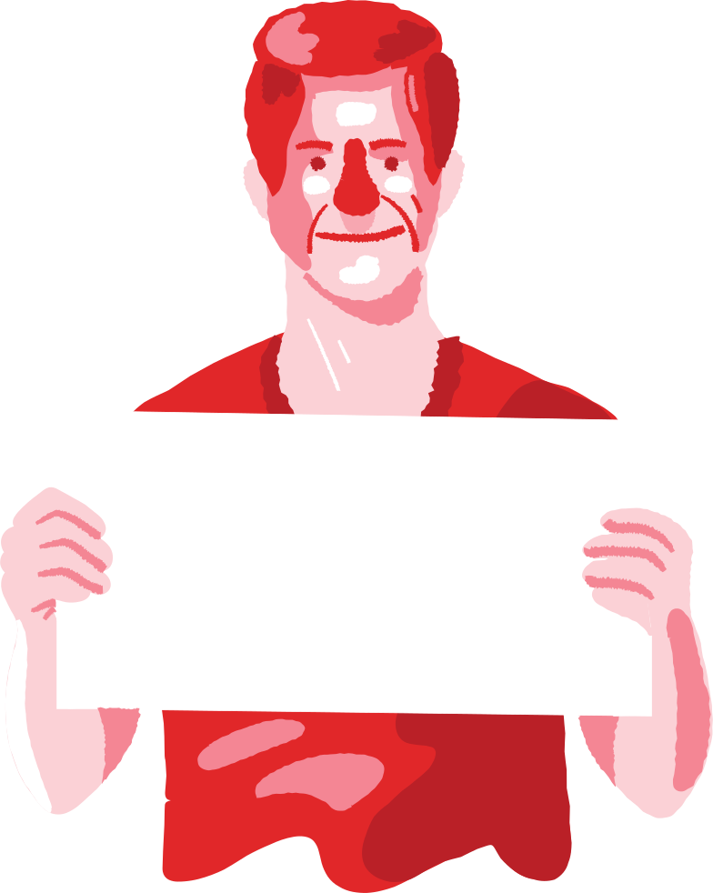 man with a poster Clipart illustration in PNG, SVG