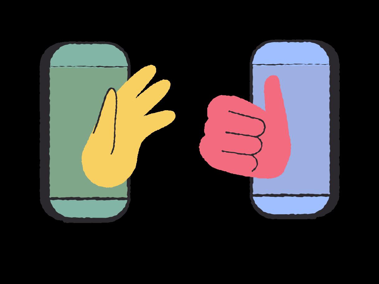 Ilustración de clipart de distanciamiento social. amistad por teléfono. quedarse en casa concepto. en PNG, SVG