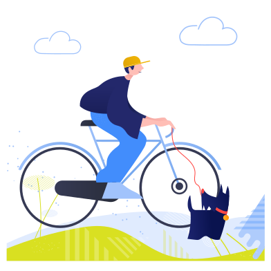 style Cycling with dog images in PNG and SVG | Icons8 Illustrations