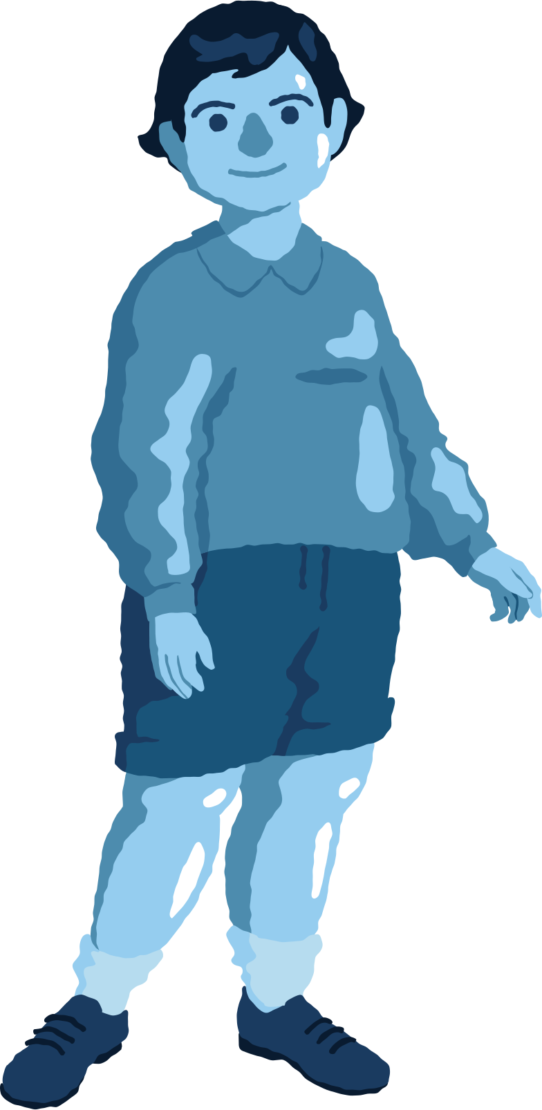 chubby boy standing front Clipart illustration in PNG, SVG