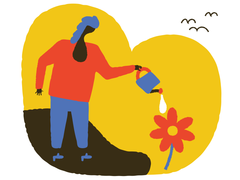 Watering the flower Clipart illustration in PNG, SVG