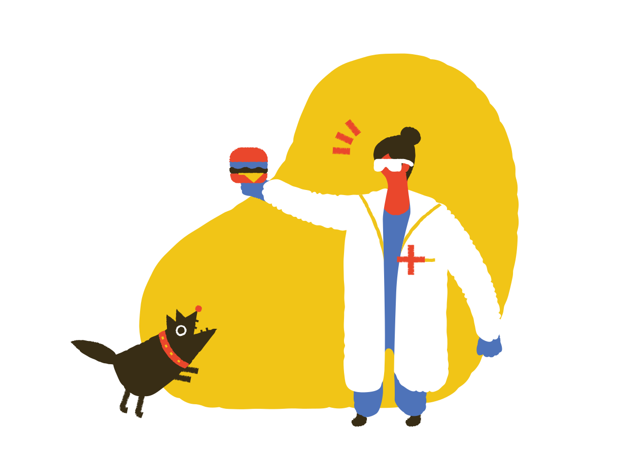 Barking at the vet clinic Clipart illustration in PNG, SVG