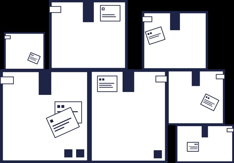 order completed  boxes line Clipart illustration in PNG, SVG