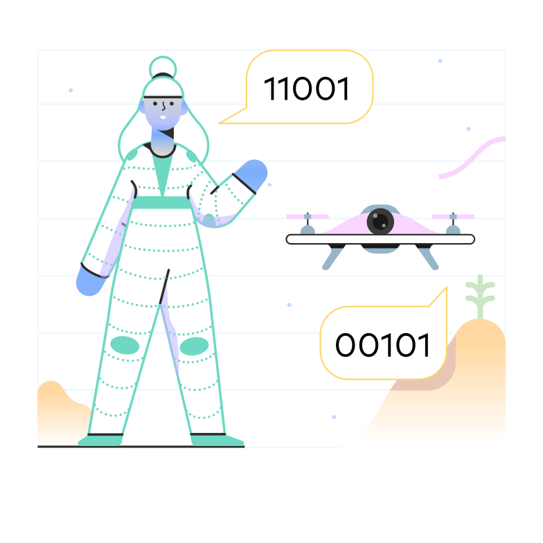 Artificial intelligence and drones Clipart illustration in PNG, SVG