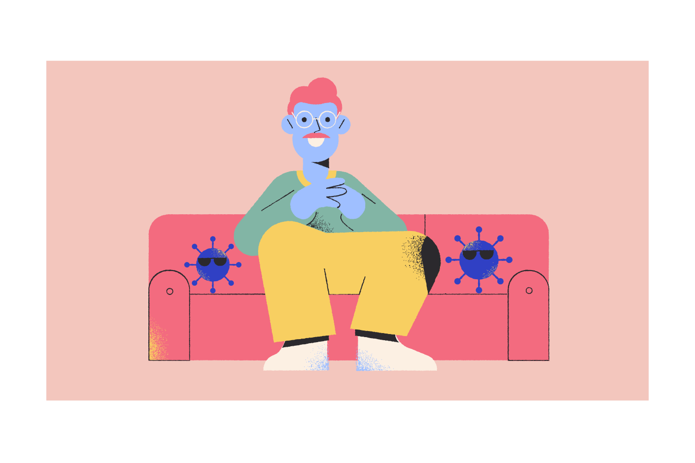 Man and security viruses Clipart illustration in PNG, SVG