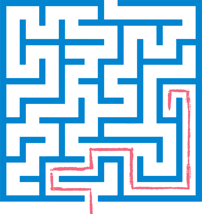 red path maze Clipart illustration in PNG, SVG