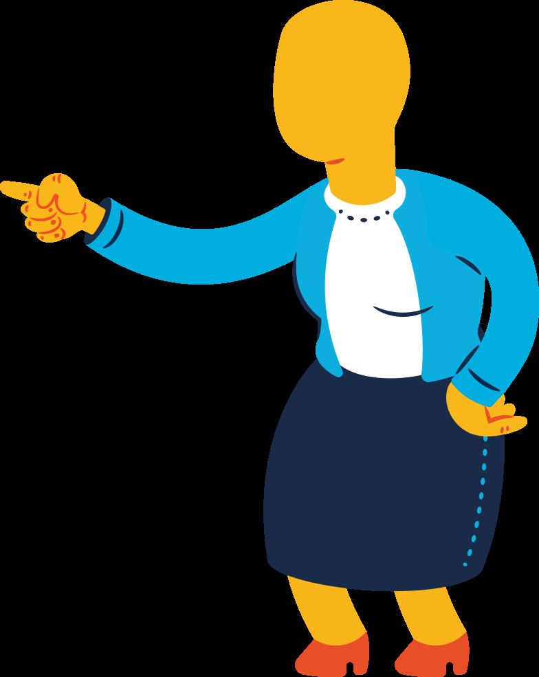 Illustration clipart Vieille femme pointant aux formats PNG, SVG