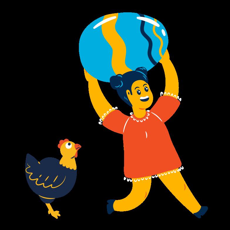 Girl found a huge egg Clipart illustration in PNG, SVG