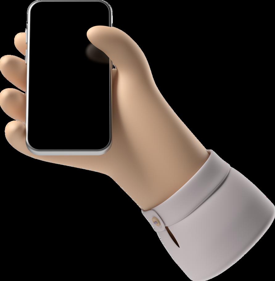 Ilustración de clipart de mano con teléfono en PNG, SVG