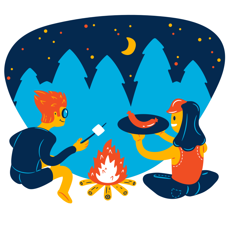 Sitting near fire stock Clipart illustration in PNG, SVG
