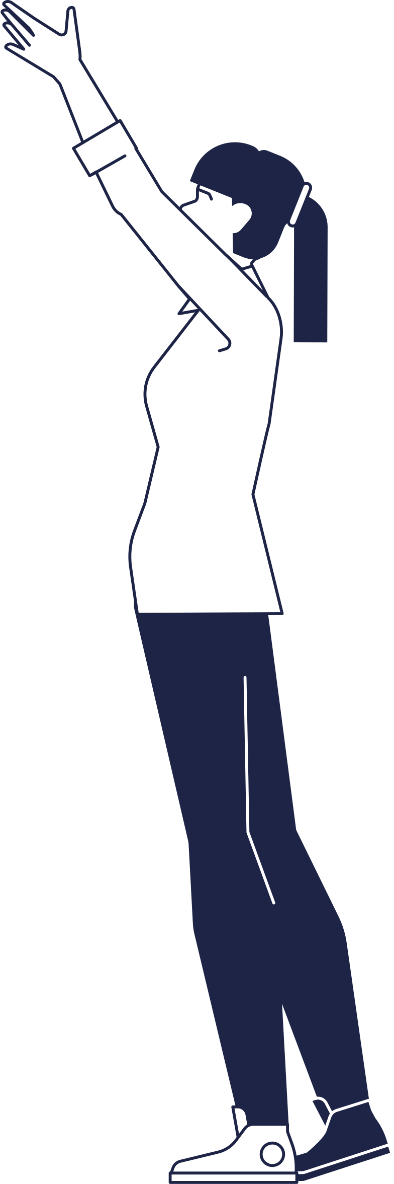 woman holding up Clipart illustration in PNG, SVG
