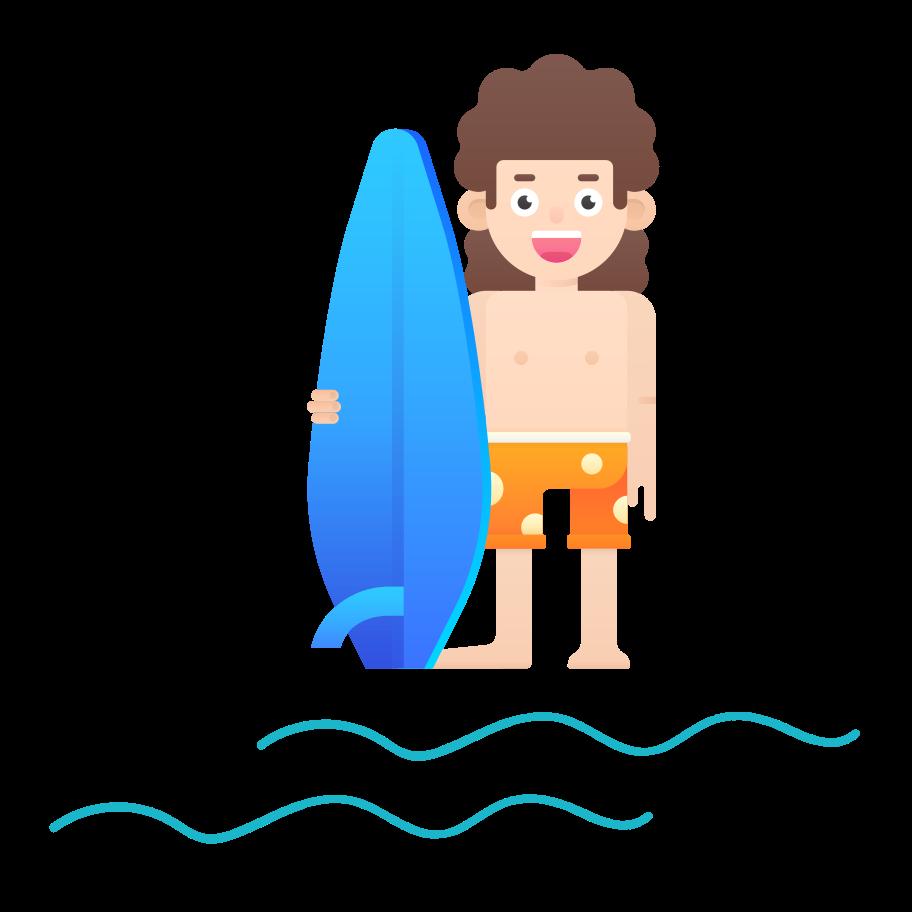 Ilustración de clipart de chico surf en PNG, SVG