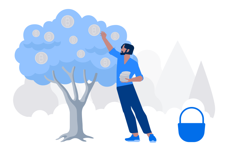 Collecting bitcoins Clipart illustration in PNG, SVG