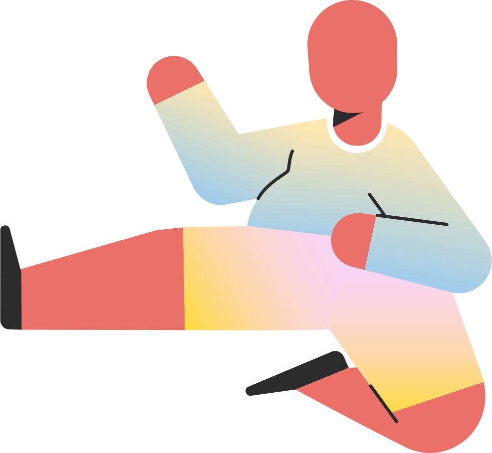 chubby child jump kick Clipart illustration in PNG, SVG