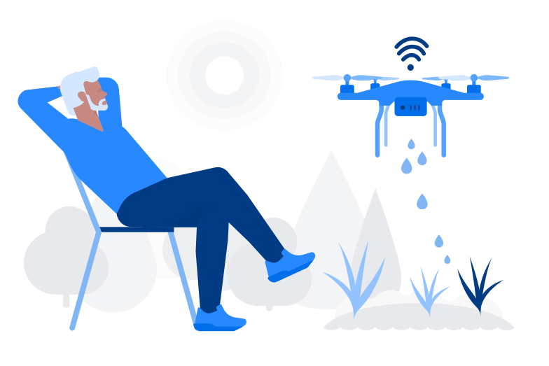 Watering drone Clipart illustration in PNG, SVG