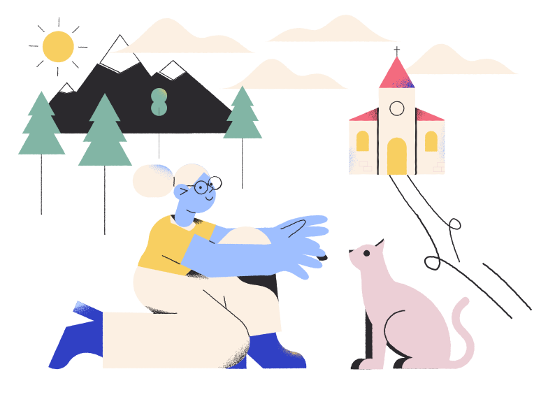 Friendship of a girl and a cat Clipart illustration in PNG, SVG