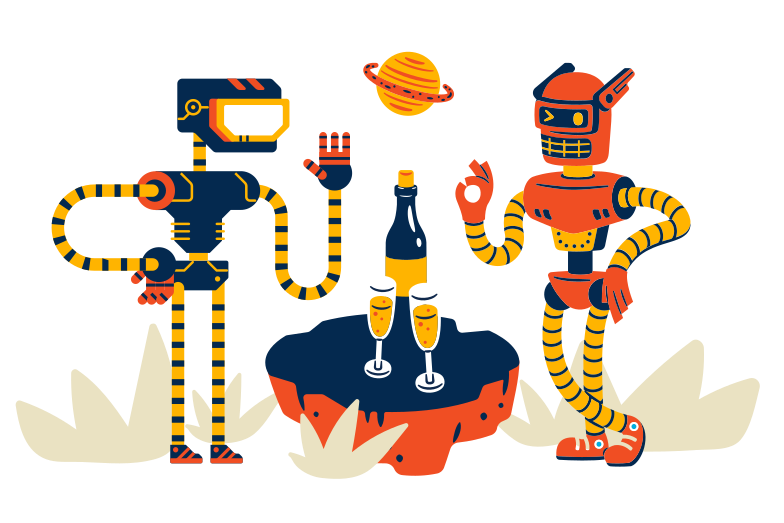 Robots on date Clipart illustration in PNG, SVG