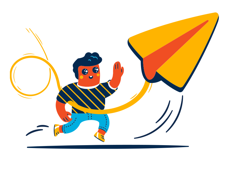 Playing with paper plane Clipart illustration in PNG, SVG