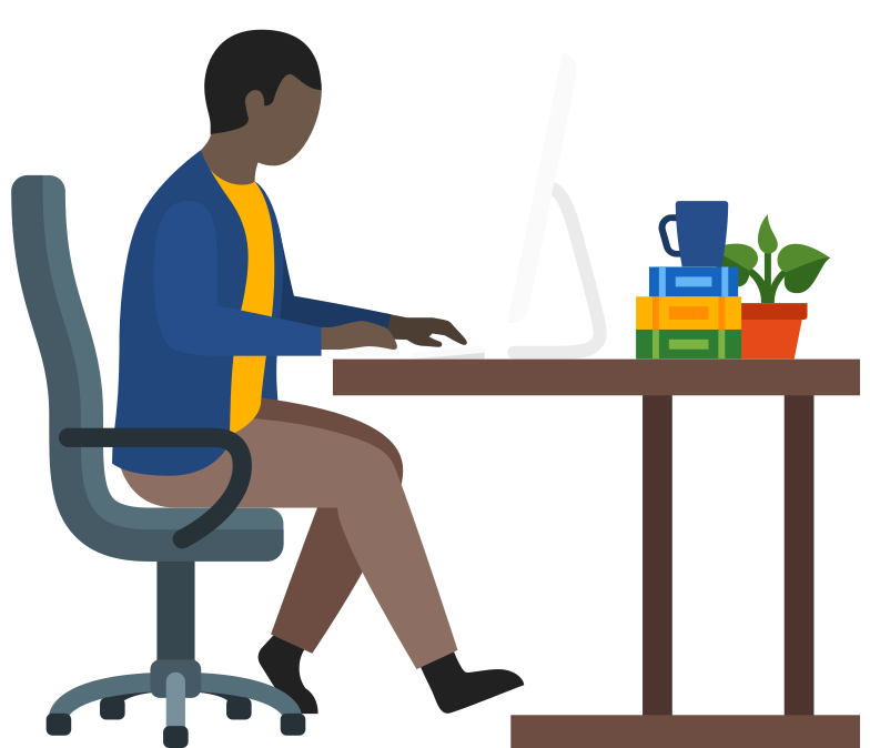 man office worker using computer Clipart illustration in PNG, SVG