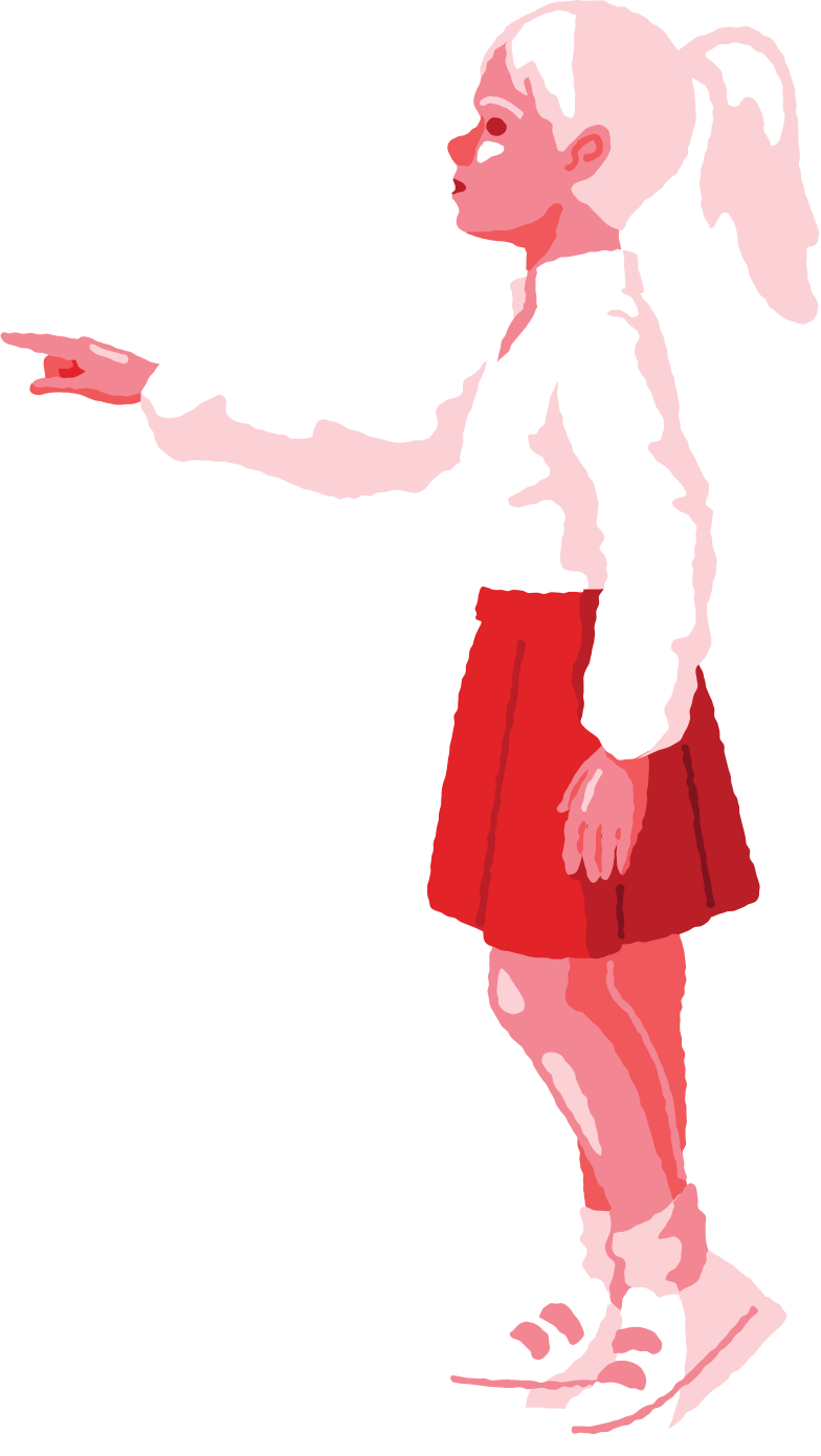 girl pointing profile Clipart illustration in PNG, SVG