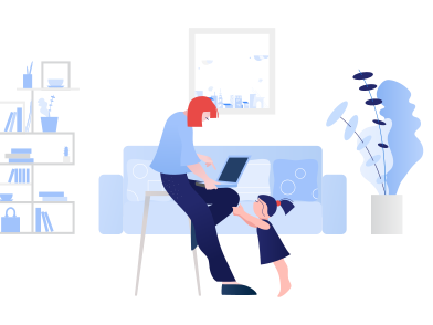 style Little girl wants mom's attention while she works remotely from home images in PNG and SVG | Icons8 Illustrations