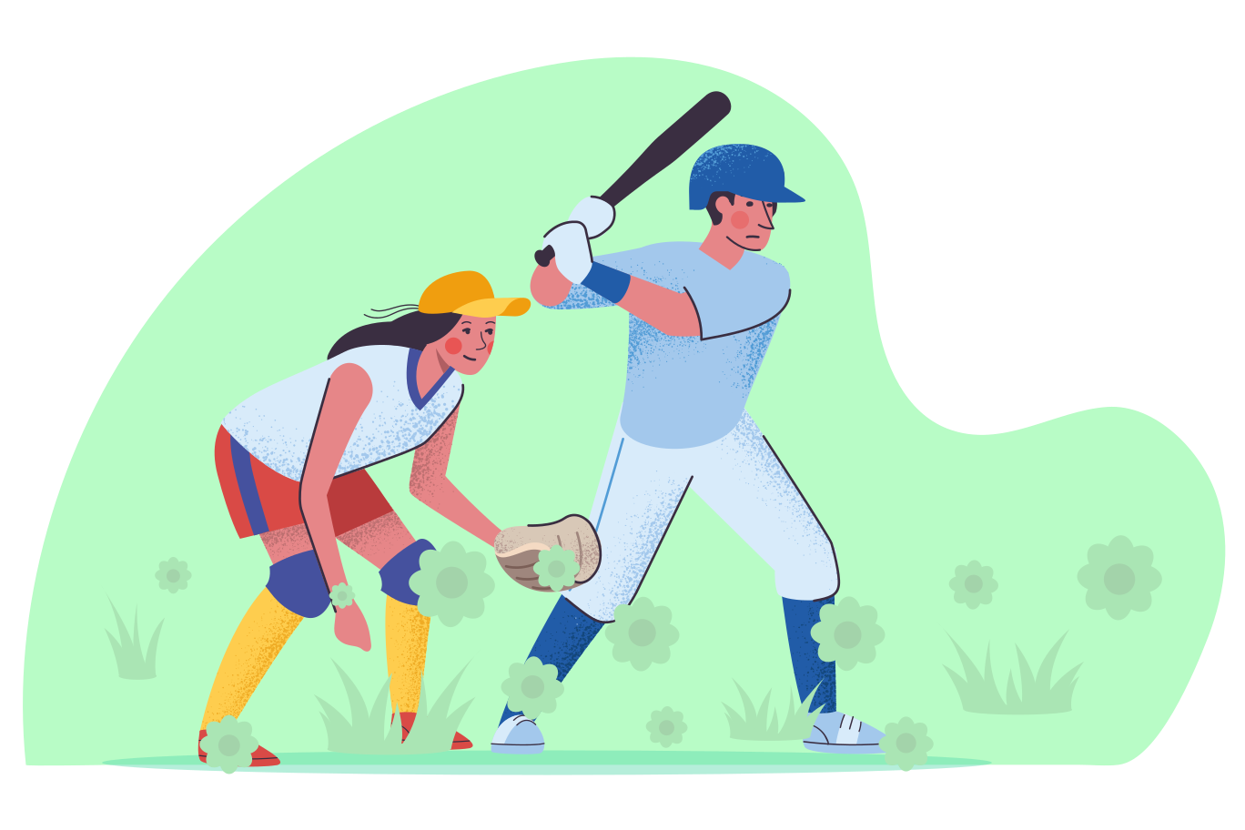 Playing baseball Clipart illustration in PNG, SVG