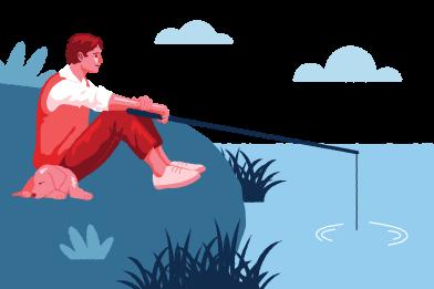 Иллюстрация День рыбалки в стиле  в PNG и SVG | Icons8 Иллюстрации