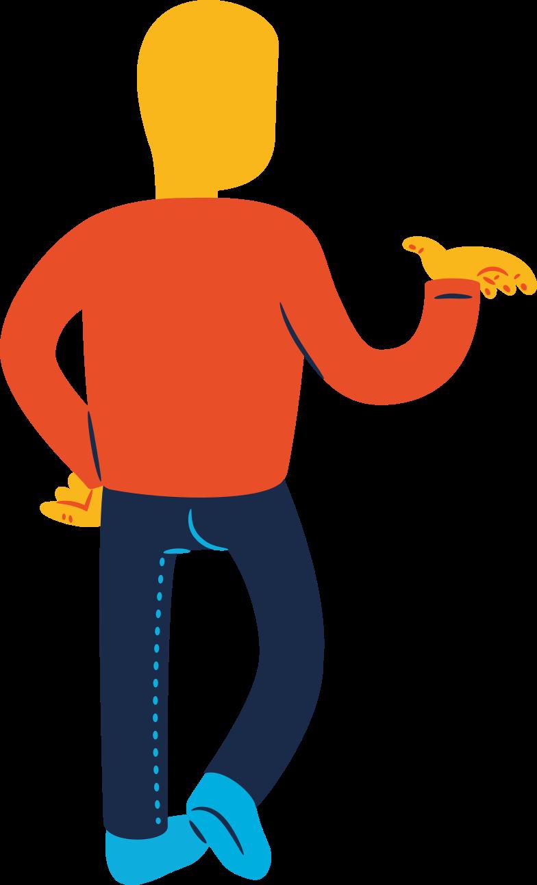 man standing back profile Clipart illustration in PNG, SVG