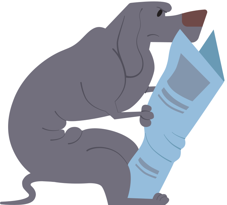 dachshund gray with newspaper Clipart illustration in PNG, SVG