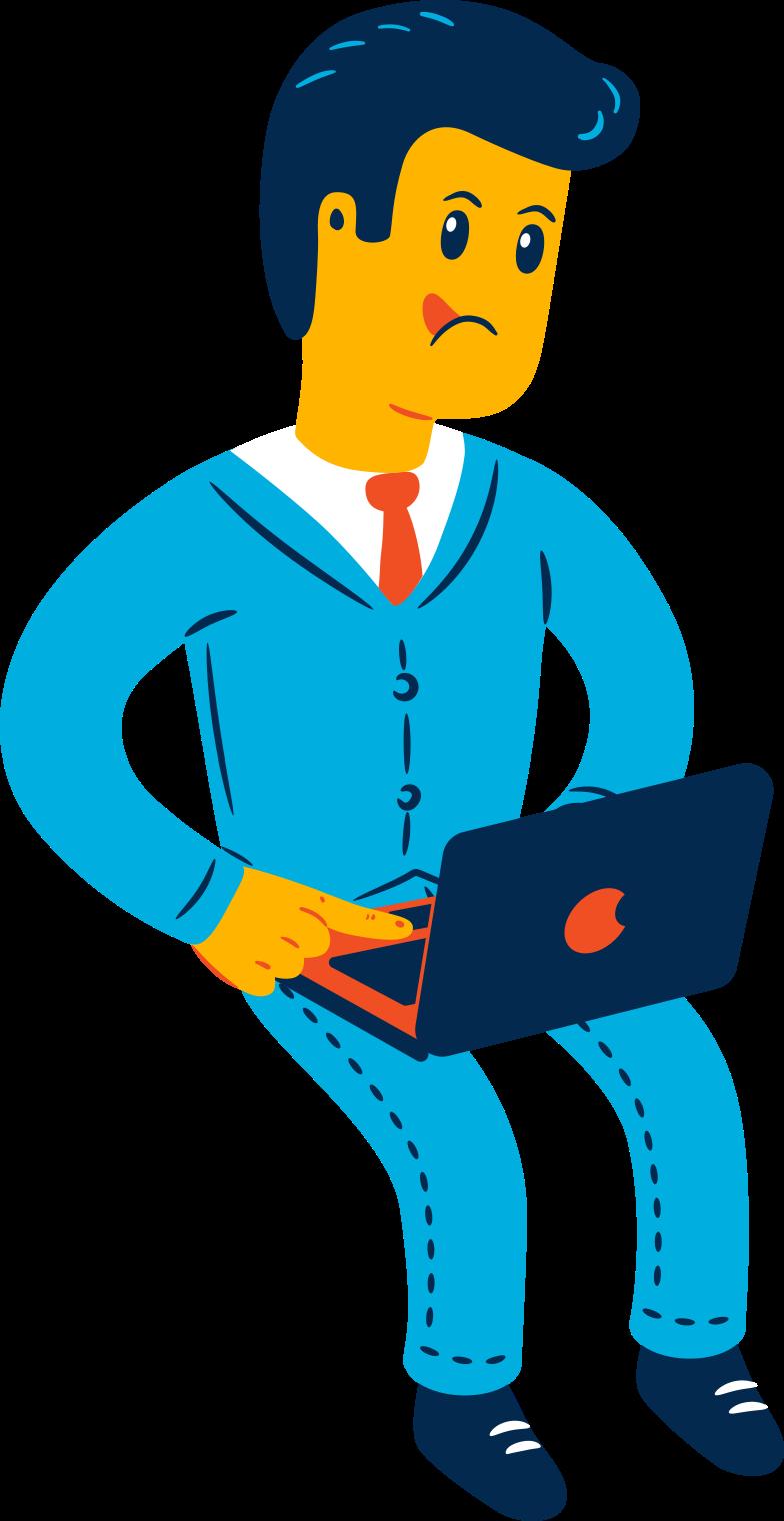 Homem sentado com laptop Clipart illustration in PNG, SVG