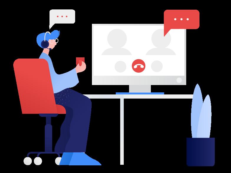 Reunião online Clipart illustration in PNG, SVG