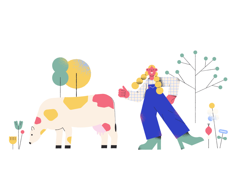 style Farmer girl and cow Vector images in PNG and SVG | Icons8 Illustrations