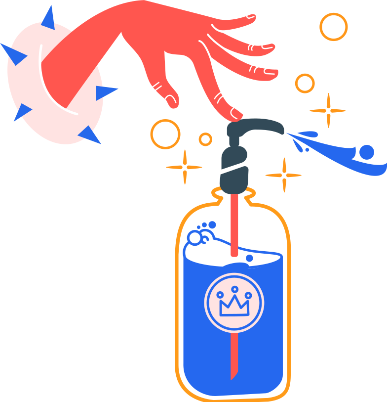 antiseptic and left hand Clipart illustration in PNG, SVG