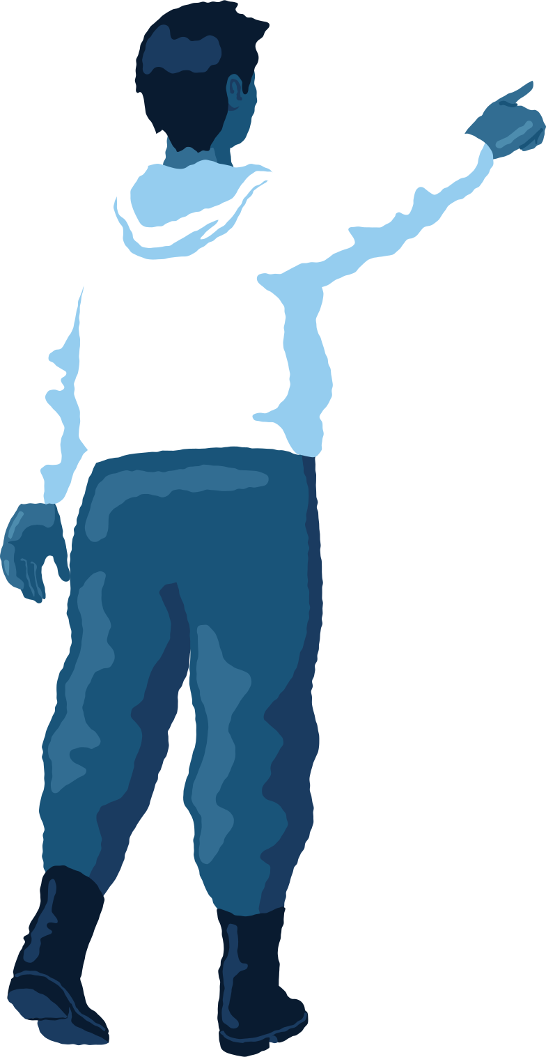 chubby man pointing back Clipart illustration in PNG, SVG