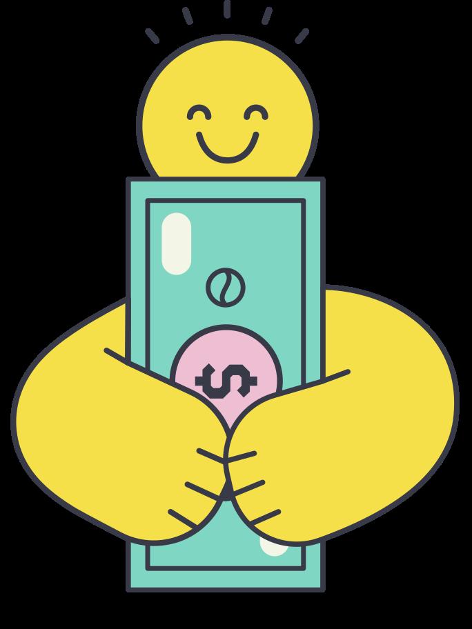 Enjoy having money Clipart illustration in PNG, SVG