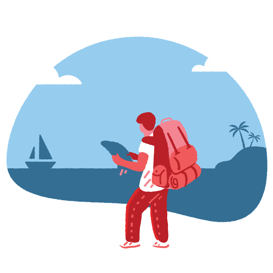 Tourist with a backpack Clipart illustration in PNG, SVG