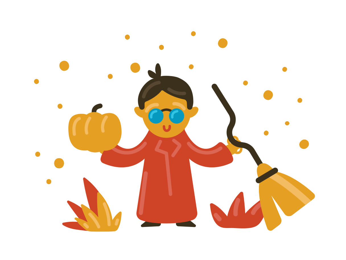 Magician with broomstick Clipart illustration in PNG, SVG