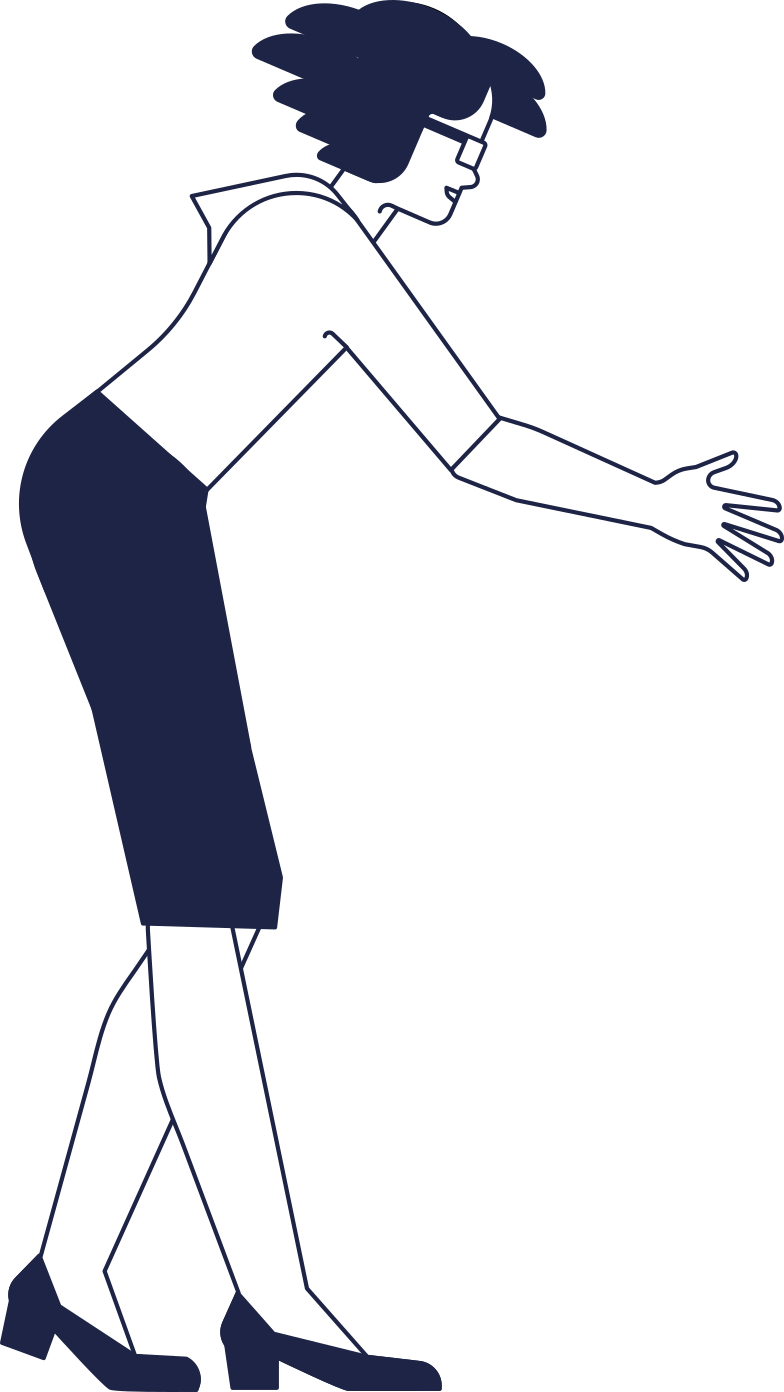 woman leans forward Clipart illustration in PNG, SVG