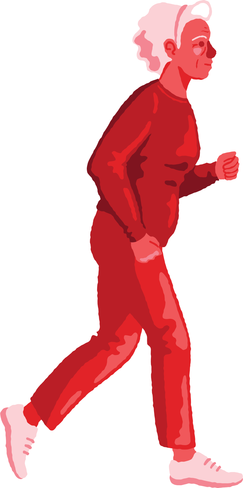 Illustration clipart Vieille femme en cours d'exécution aux formats PNG, SVG