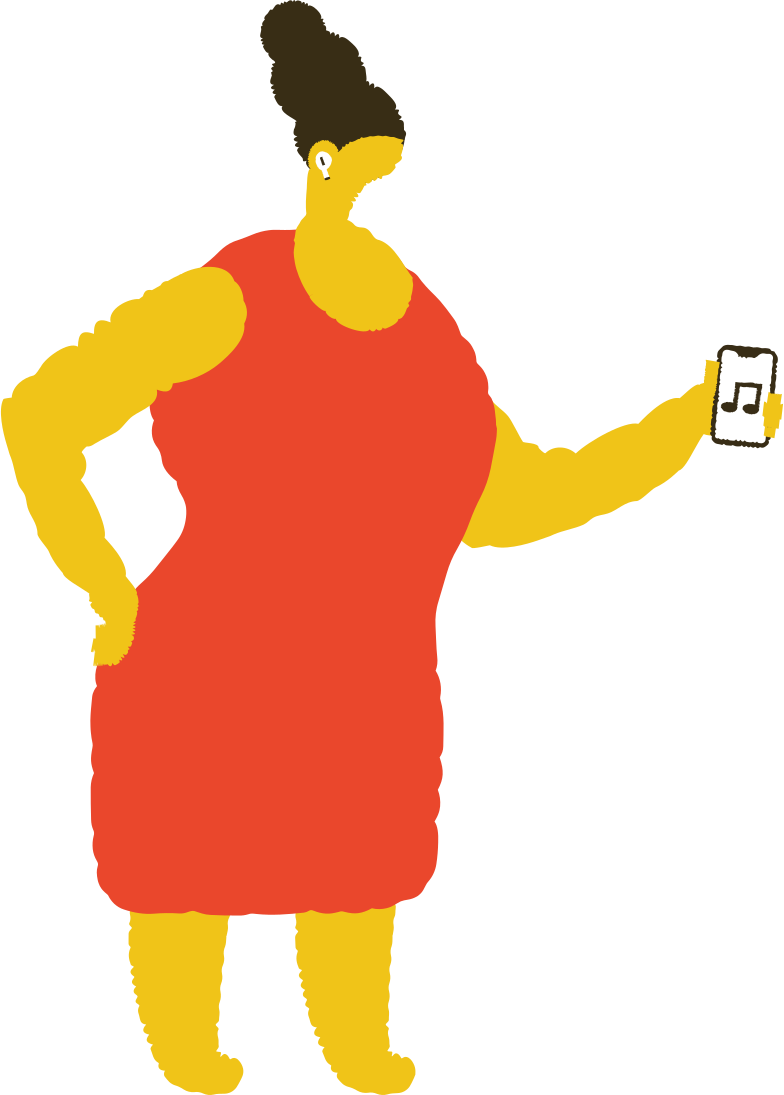 woman with airpods Clipart illustration in PNG, SVG