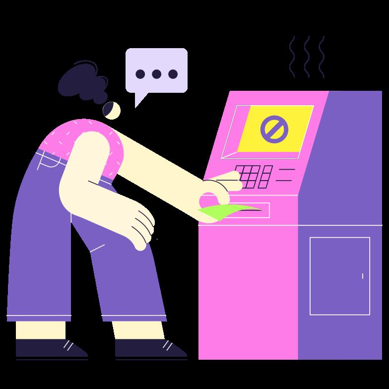 Broken ATM Clipart illustration in PNG, SVG