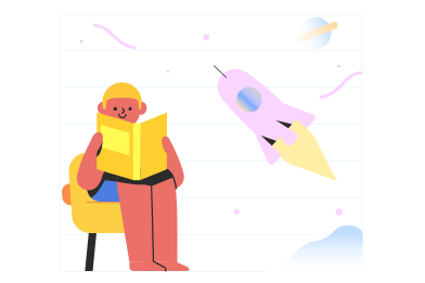 style Reading a book about space images in PNG and SVG | Icons8 Illustrations