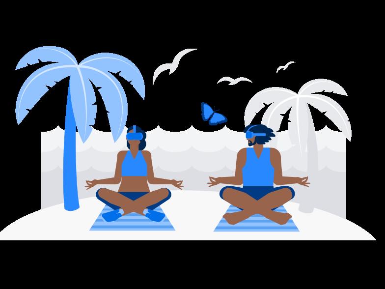 VR Yoga Clipart illustration in PNG, SVG