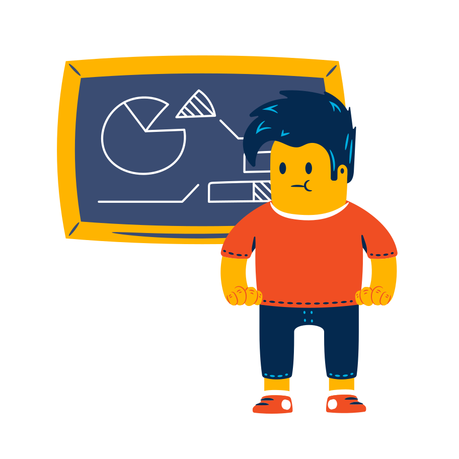Student near the blackboard Clipart illustration in PNG, SVG